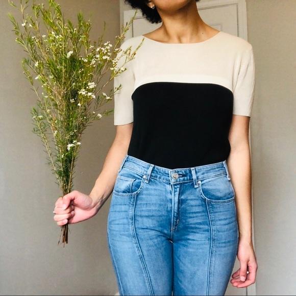 Vintage Silx Tan/Black Silk Short Sleeve Top M by Vintage